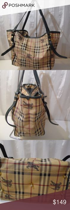 "Vintage Burberry Prorsum PVC Tote read details Size 10.5/10/5..9"" drop..Pre owned GUC ..Moderate wear..very strong and solid...visible light stain in lining pic 8.. discoloration to hardware pic Authenticity is neither verified nor confirmed.. PRICE IS REFLECTED ACCORDINGLY.. overall great condition..High quality grade material and top notch workmanship. Returns accepted no questions asked. Burberry Bags Totes"