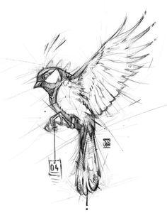 20171104 Bird Psdelux by psdeluxe Bird Drawings, Pencil Art Drawings, Art Drawings Sketches, Tattoo Sketches, Animal Drawings, Drawing Drawing, Drawing Tips, Drawing Ideas, Eye Drawings