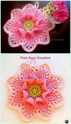 Crochet Cala Lily Potholder Free Pattern [Video] - Crochet Pot Holder Hotpad Free Patterns