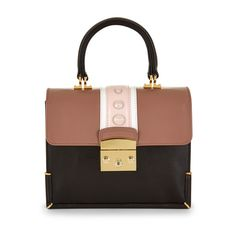 Mayra Fedane Mini Harlow Chocolate Studded Bag ($750) ❤ liked on Polyvore featuring bags, handbags, shoulder bags, purses, accessories, leather man bags, leather hand bags, handbags purses, leather purses and mini handbags