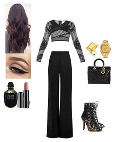 """Untitled #377"" by insafsat on Polyvore featuring Hervé Léger, Gianvito Rossi, Roksanda, Christian Dior, Versace, StyleRocks, Alexander McQueen and Lancôme"