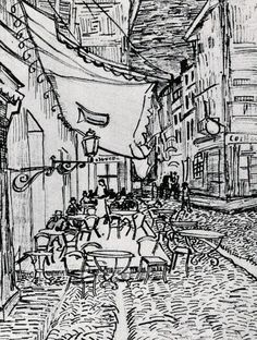 The Cafe Terrace On The Place Painting - Cafe Terrace At Night - Drawing by Vincent van Gogh