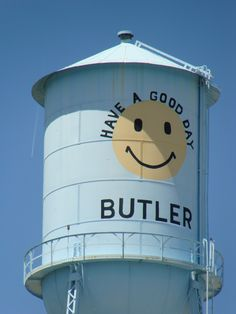 Butler, AL water tower; have a good day smiley face