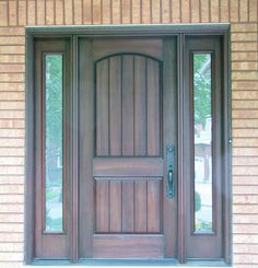 Oak front door with sidelights