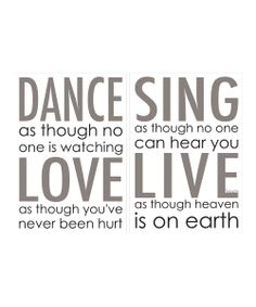 'Dance Love Sing Live' I think part of love is very difficult