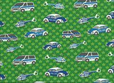 Polizeifahrzeuge Sterne grüngrundig Jersey