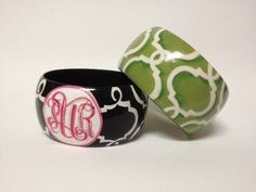 Hand Painted Monogrammed Bangle  Geometric by TheSassyGator, $39.99