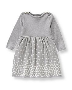 This Janie & Jack Shimmer Dot Sweater Dress is the easiest little holiday piece!
