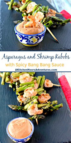 A quick and easy grilled dinner, Grilled Shrimp and Asparagus with Bang Bang Sauce is packed with flavor and a kick. It comes together in minutes, grills up in minutes, and is on the table in. Grilling Recipes, Seafood Recipes, Chicken Recipes, Vegetarian Recipes, Healthy Recipes, Easy Recipes, Seafood Diet, Recipes Dinner, Potato Recipes