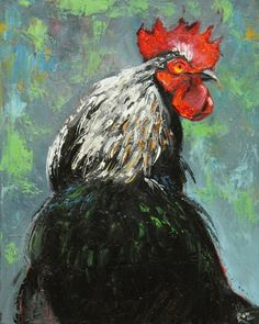 Rooster 542 16x20 inch original oil painting by Roz by RozArt, $155.00