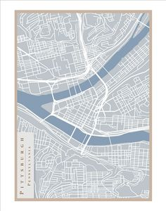 Pittsburgh Street Map  11x14 print Pittsburgh art by delovelyArts, $19.50