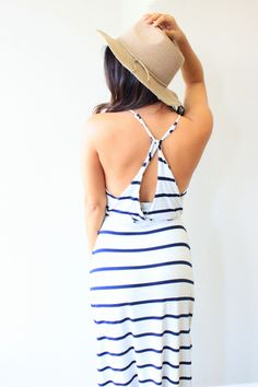 Chaser Cross Back Maxi Dress #fakingitflawless #theboutique #love #shopthislook #ootd #lotd #boutique #dress #maxi #chaser #chaserbrand #style #boho #crisscross #back #striped