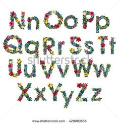Floral Letters. Flower Capital Uppercase and Lowercase Alphabet . Colorful font. Vector illustration. Grotesque style.