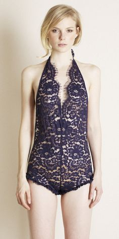 """Andi Jumper """"...ruffled-tomboy backless jumper rendered in classic navy eyelash mantilla lace..."""" Great description from http://www.perkbykate.com/products/andi-jumper-by-zinke-intimates"""