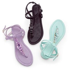 Jeweled t-strap sandals add instant glam to your casual vacation ensemble. #sandals #jewels #purple #turquoise #gordmans