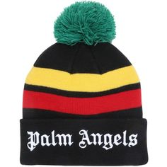 69686794510 Palm Angels Men Logo Embroidered Knit Beanie Hat ( 115) ❤ liked on Polyvore  featuring