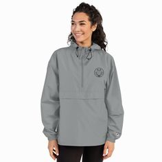 Embroidered Champion Packable Jacket – My New Print The Smarter Choice Packable Jacket, Half Zip Pullover, Embroidered Jacket, Clothing Labels, New Print, Purple And Black, Hooded Jacket, Champion, Windbreaker