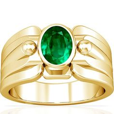 18K Yellow Gold Oval Cut Emerald Mens Ring (GIA Certificate)
