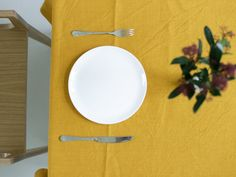 Linen tablecloth (yellow) 925