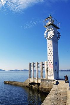 Lighthouse and clock - Paqueta Island - Rio de Janeiro, Brazil.