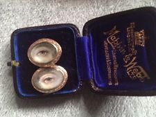 Rare pair georgian lovers eye miniatures in rose gold 1790 - private collection