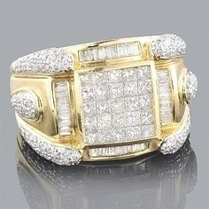 This Gold Mens Diamond Ring weighs approximately 13 grams and showcases ctw of invisibly-set princess cut diamonds, pave-set round diamonds and channel-set baguette diamonds. Featuring an intricate design and a highly polished gold finish, this m Engagement Rings On Finger, Antique Engagement Rings, Antique Rings, Eternity Ring Diamond, Diamond Rings, Diamond Jewelry, Gold Jewellery, Men's Jewelry, Gold Jewelry Simple