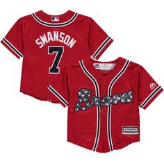 e3b65fd739e Dansby Swanson Atlanta Braves Majestic Infant Alternate Official Cool Base  Player Jersey - Red