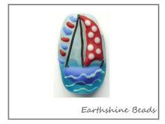 Sailng Boat Handmade lampwork glass bead OOAK by Earthshinebeads, £10.95