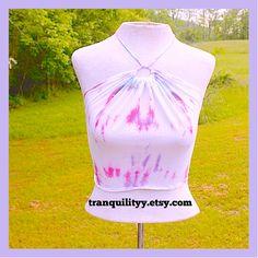 SALE Tie Dye Halter Crop Top Berries Smoothie by tranquilityy