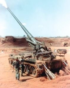 M-107, 175mm self-propelled gun firing during Operation San Angelo, Vietnam, January-February 1968. The M-107 was used extensively in Vietnam for long range fire support. olive-drab.com