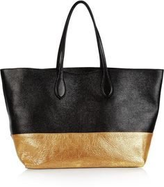 Rochas Twotone Texturedl Leather Tote in Gold (black)