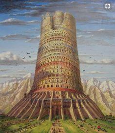 Tower of Babel Fantasy City, Fantasy Castle, Fantasy Places, High Fantasy, Fantasy World, Fantasy Concept Art, Fantasy Artwork, Fantasy Landscape, Landscape Art