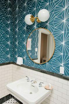 teal bathroom wallpaper