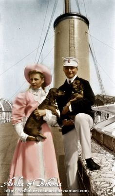 Princess Victoria Louise of Prussia with her brother Prince Adalbert.