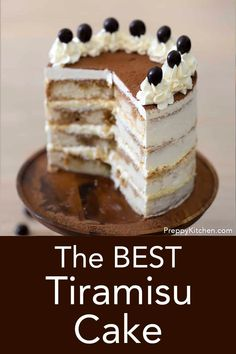 This fluffy moist Tiramisu cake is soaked with a coffee and brandy, stacked with a mascarpone custard and covered in a Swiss buttercream. Unique Desserts, Creative Desserts, Sweet Desserts, Italian Desserts, Tiramisu Recipe, Tiramisu Cake, Cake Fillings, Cake Flavors, Mini Cakes