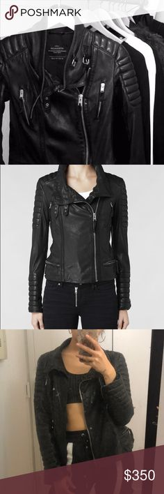 3cdeb55bac349 All saints black biker leather jacket All saint famous Steine black leather  biker jacket. All