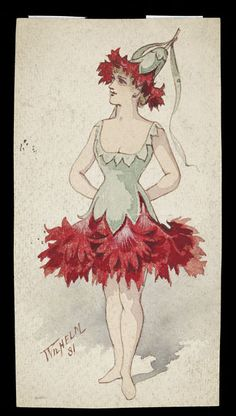 Costume design by Wilhelm for a chorus girl dressed as a Pink Carnation, unidentified production, Museum Number Creative Costumes, Cool Costumes, Vintage Costumes, Costume Ideas, Flower Costume, Bird Costume, Halloween Circus, Halloween Fancy Dress, Holiday Costumes