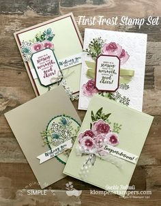 Video Tutorial showing you how to layer die cuts and the various occasions this First Frost stamp set can be used for. Jackie Bolhuis with Klompen Stampers Christmas Cards 2018, Stampin Up Christmas, Handmade Christmas, Diy Christmas, Karten Diy, Fun Fold Cards, Stamping Up Cards, Flower Cards, Diy Cards With Flowers