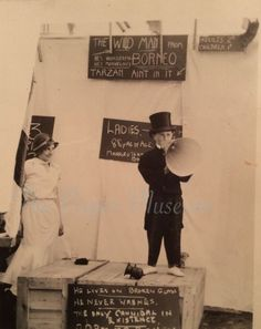 This is lovely! Original Vintage Photo Carny Freak Show Sideshow Circus Child Wild man Megaphone 1920s Photos, Vintage Photographs, Vintage Photos, Circus Art, Circus Clown, Steampunk Circus, Weird Vintage, Fiction Novels, Hollywood Icons