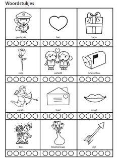 Woordstukjes [yurls.net] Color Mixing, Coloring Pages, Valentines, Letters, Teaching, Activities, School, Saint Valentine, Kindergarten