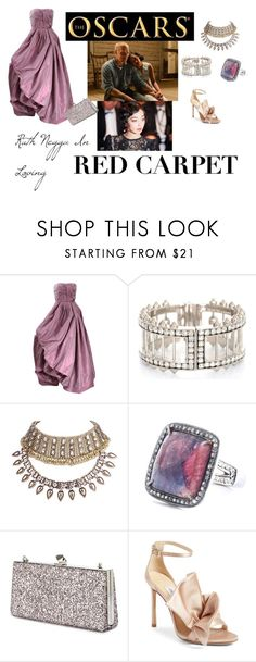 """""""Oscars: Ruth Negga In Loving"""" by vintagesiren ❤ liked on Polyvore featuring Oscar de la Renta, Alexander McQueen, WithChic, Jimmy Choo and RedCarpet"""