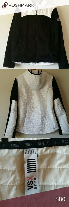 """VSX Sport Black/White Sherpa Jacket size M Measures approximately 19.5"""" from pit to pit, 27"""" long, 26"""" sleeves. Full zip with drawstring hood. Two front pockets with inner pocket for headphones. Slight discoloration at cuffs and at neck, otherwise in good condition. Victoria's Secret Jackets & Coats"""