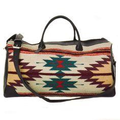 Duffel bag/Travel bag/ Boho chic duffel/ Weekender bag/ Handwoven wool duffel/Hand dyed/Black leather/Tribal print duffel/Oaxaca duffel