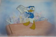 Production Cel of Donald Duck from Window Cleaners