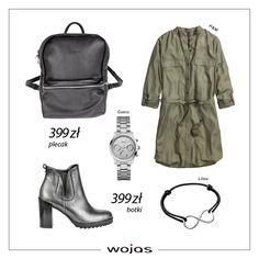 Oliwkowa szmizjerka przed kolano idealnie komponuje się z botkami Wojas (5604-50) w najmodniejszym kolorze sezonu! Skórzany plecak (5929-51) oraz biżuteria to dodatki, które doskonale uzupełniają stylizację.