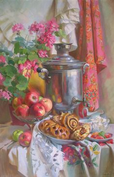 Tea with marmalade Russian Tea Time, Russian Art, Romantic Drawing, Soft Pastel Art, Dining Room Art, Still Life Fruit, Classic Paintings, Painting Still Life, Nature Paintings