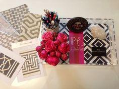 Schumacher Fabrics, Iomoi Tray, Garden Roses via La Dolce Vita. Love these patterns.