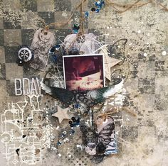Project created by More Than Words Special Guest Marie-France Boulay inspired by the January 2018 Main Challenge BIRTHDAY and TAGS. Birthday Tags, Birthday Parties, Word Challenge, Mixed Media Scrapbooking, More Than Words, Layout Inspiration, Special Guest, Perfect Photo, Spotlight