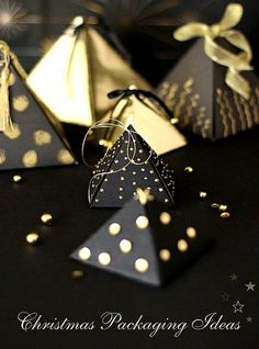 #Christmas gift #wrapping ideas ToniK ⓦⓡⓐⓟ ⓘⓣ ⓤⓟ #DIY #crafts black gold creative pyramid  shape cafe noHut on Flickr
