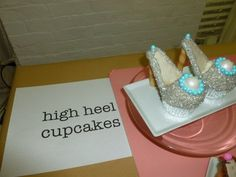 """Sparkly High heel cupcakes with diamond """"ring"""" embellishment...For Jace's Miss Piggy Fashion party! After all miss Piggy is all about fabulous shoes!"""